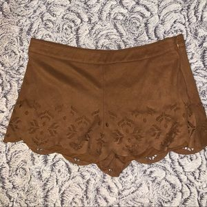 Suede cut out shorts